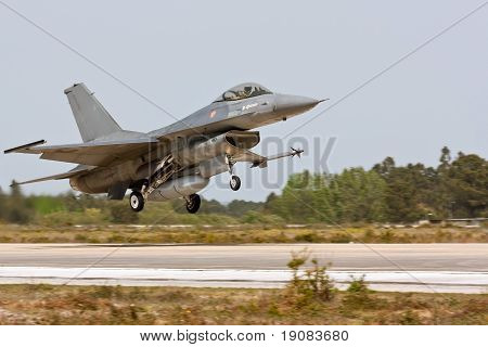 Monte Real, Portugal-april 7: F16 Portuguese Taking Off. Participating In Real Thaw Nato Exercise At