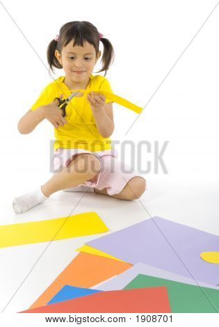 Sitting Girl With Scissors