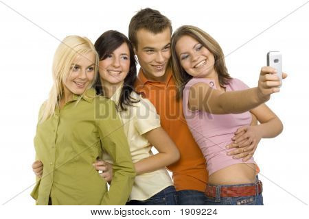 Group Of Teenagers Making Themselfs Picture
