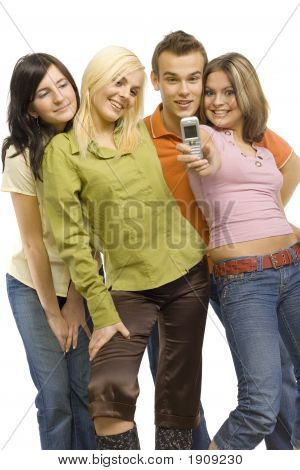 Teenagers Making Photo By Mobile Phone