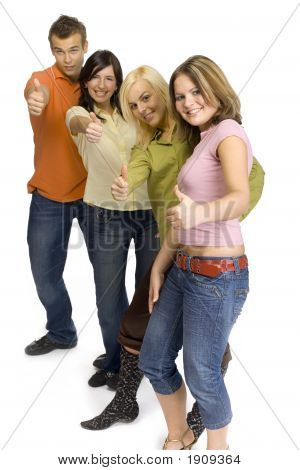 Teenagers Showing Ok Hand Sing