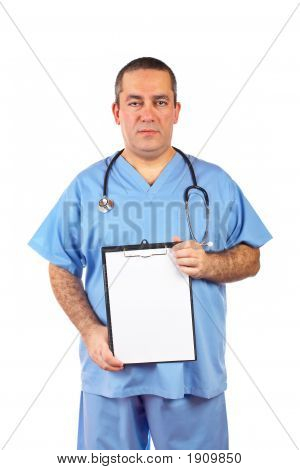 Male Doctor Showing A Blank Clipboard