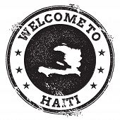 Постер, плакат: Vintage Passport Welcome Stamp With Haiti Map Grunge Rubber Stamp With Welcome To Haiti Text Vecto