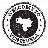 Постер, плакат: Vintage Passport Welcome Stamp With Venezuela Bolivarian Republic Of Map Grunge Rubber Stamp With