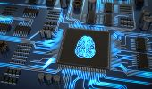 Artificial Intelligence Electronic Circuit. Microchip With Glowi poster