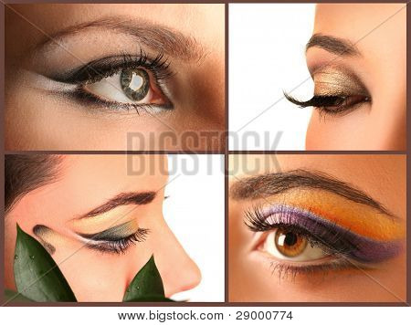 woman eye with bright beautiful make-up