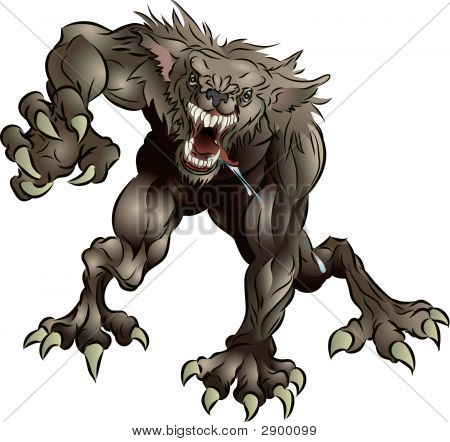 Snarling temible hombre lobo
