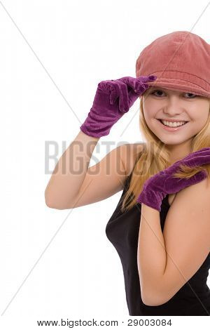 Portrait of the beautiful young girl in gloves on a white background