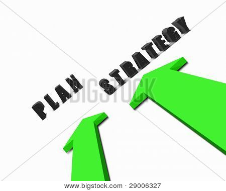 Image of two colour arrows with bussiness words