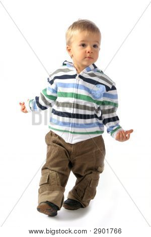Blond Boy Walking Around