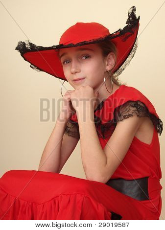 Portrait of a girl in red hat and red dress with black lace (image contains some noise)