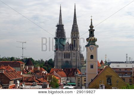 Cathedral and church in capital of Croatia- Zagreb