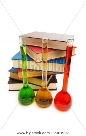 Books And Tubes Isolated On The White