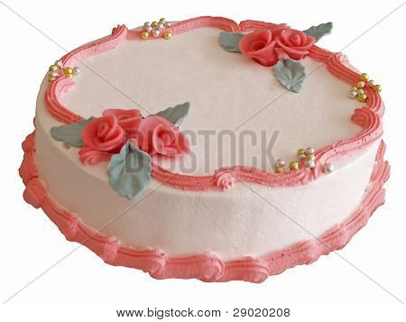 Elegant celebration cake with red marzipan roses (isolated)