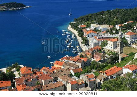 Aerial view of marina on island Hvar, Croatia (horizontal)