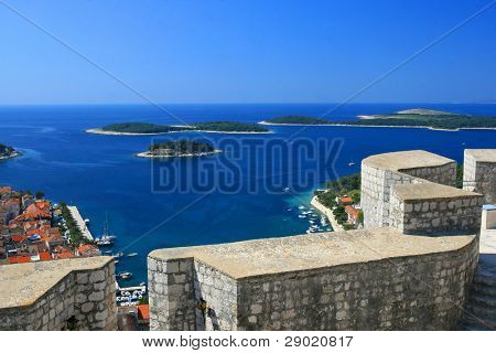 Aerial view of marina on island of Hvar from the fortress walls