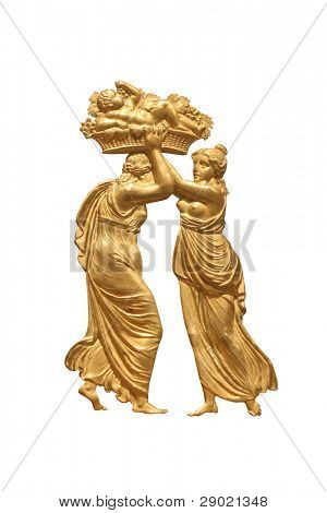 Greek relief of man and woman made of gold. Man carrying a god of love in the basket on his head