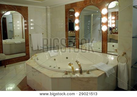 Modern and spacious bathroom suite designed with luxury