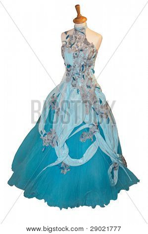Beautiful blue ball dress on a mannequin isolated on white (clipping path included)