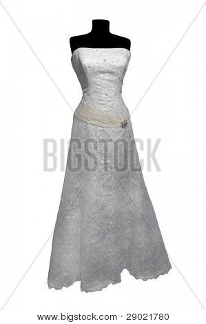 Weddings dress on a mannequin isolated on white (with clipping path)