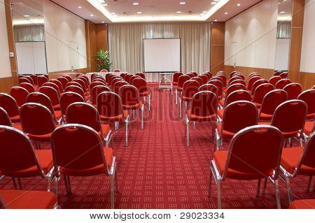 Empty conference room ready for audience