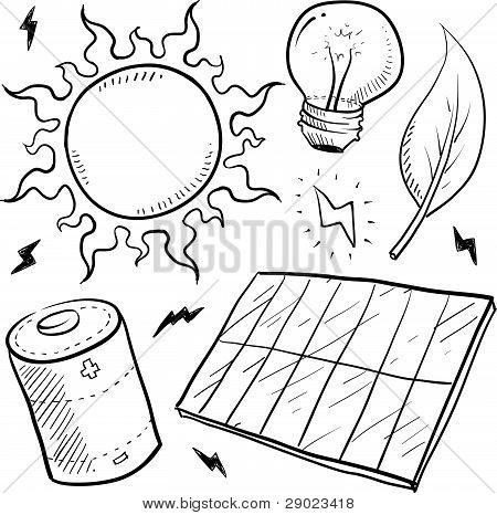 Solar energy objects sketch