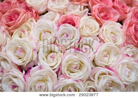 Big bunch of multiple pink roses of a bride on a wedding. (Could be used as a texture background)