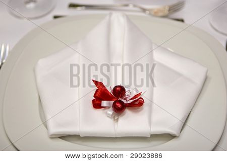 Detail of a plate and a napkin ready for dinner