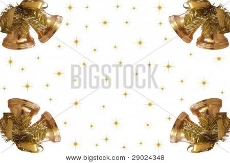 Golden Christmas bells with stars forming a frame