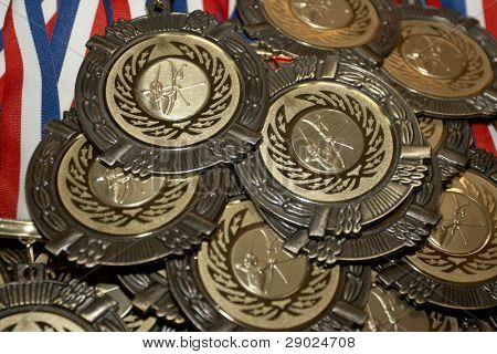 Gold medals in archery before handing to champions