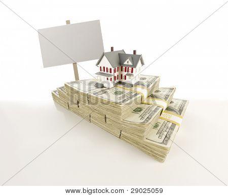 Pilhas de notas de cem dólares com pequena casa e assinar em branco em ligeira gradação.