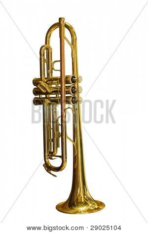 Gold trumpet isolated over white background