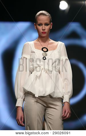 ZAGREB - OCTOBER 08: Fashion model wearing design of Estare Culto on 'Cro a porter Limited edition' fashion show, October 08, 2008 Zagreb, Croatia.