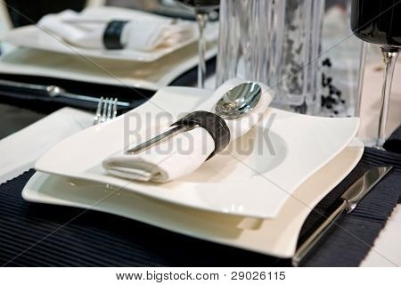Luxurious dinner in black and white