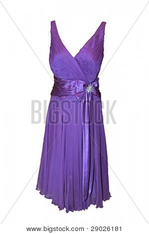 Beautiful purple dress isolated on white (clipping path included)