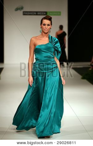 ZAGREB, CROATIA- JUNE 4: Fashion model wearing design of Maion at 'Fashion Week Zagreb' show, June 4, 2009 in Zagreb, Croatia.