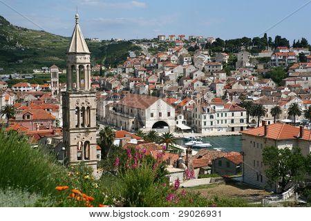 Panoramic view of marina on island Hvar, Croatia