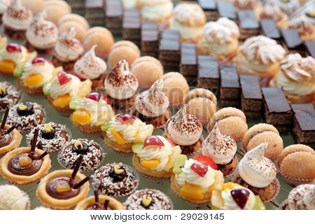 Diversity of pastry decorated with fruit