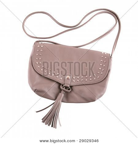 Beige purse with rivets isolated on white