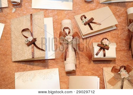 Handmade wedding invitations made of paper