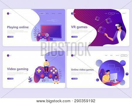 poster of Set Of Landing Page Templates. Video Gaming, Online Games, Vr Gaming, Gamepad. Flat Vector Illustrat