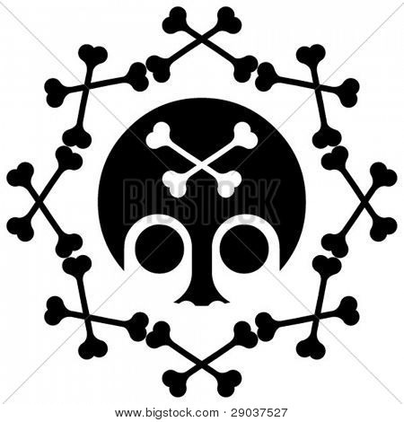 round skull and crossbones decoration