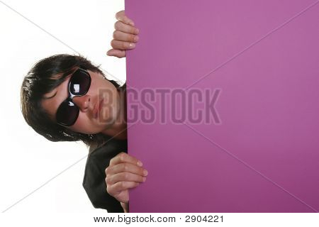 Man Holding A Billboard