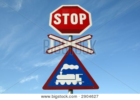 Railway Crossing Stop Sign