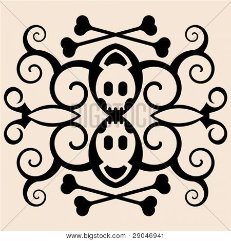 halloween skull and crossbones tattoo