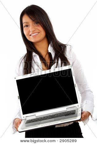 Business Woman Displaying A Laptop