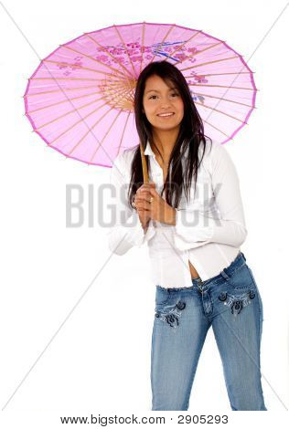 Woman With A Pink Umbrella