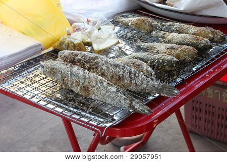 Grilled Salted Striped Snake-head Fishes