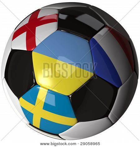 Isolated Soccer Ball With Flags Of Group D, 2012