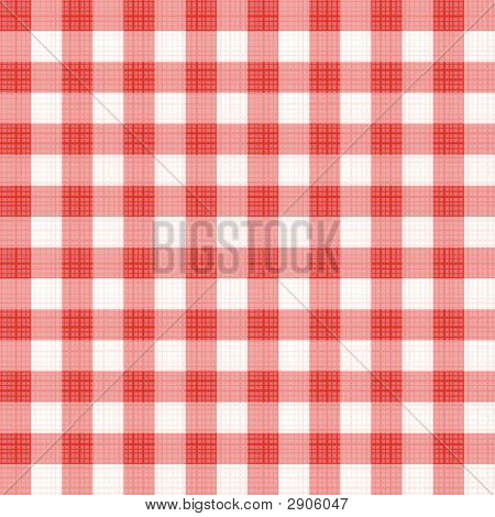 Red Gingham Repeat Pattern With Fabric Texture